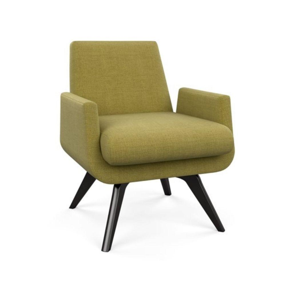 American Leather Landon Swivel Chair in Nuance Citron with Grey Ash Base