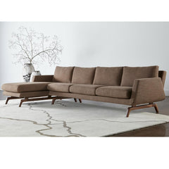 American Leather Nash Sectional Sofa Taupe with Walnut Base in room