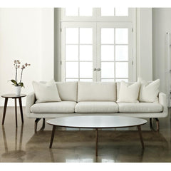 American Leather Nash Sofa in Ivory Wool with Walnut Base in Living Room