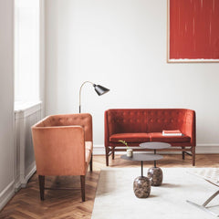 AJ7 Bellevue Floor Lamp in room with Arne Jacobsen Mayor Sofas &Tradition Copenhagen