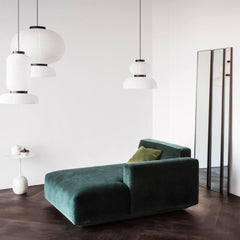 And Tradition Formakami Pendant Lights in room with Green Velvet Sofa