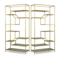 Etagere Pair Antique Gold Eglomaise Glass Precedent Furniture