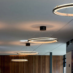Antoni Arola Nimba LED Suspension Lamps at Telefonica's Corporate University by Santa & Cole