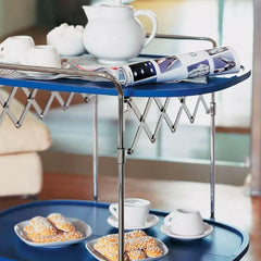 Gastone Bar Cart by Antonio Citterio Sea Blue with Tea and Pastries from Kartell