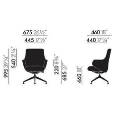 Vitra Antonio Citterio Grand Conference Chair Lowback Dimensions