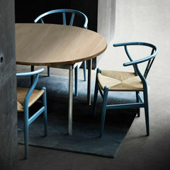 Aqua Blue Wegner Wishbone Chairs in Room with Wegner Dining Table