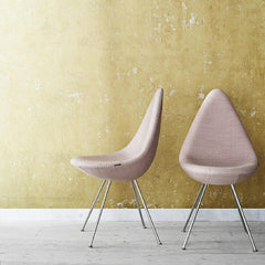 Arne Jacobsen Drop Chair Light Pink with Chrome Legs in Room Fritz Hansen