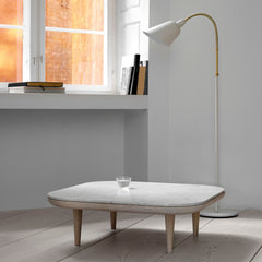 Arne Jacobsen Ivory Bellevue Floor Lamp in Room with Marble Table And Tradition