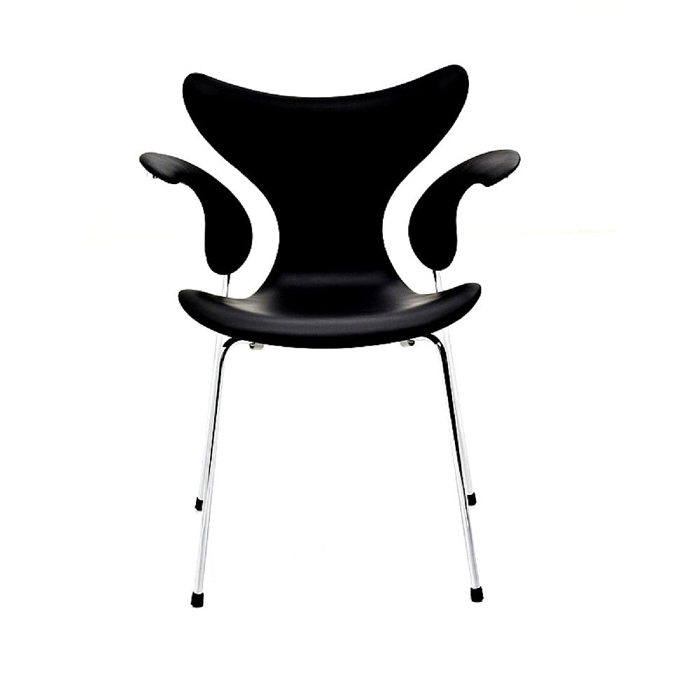 Arne Jacobsen Lily Chair Black Lacquer Chrome Legs Fritz Hansen