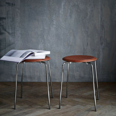 Fritz Hansen Arne Jacobsen Dot Stools Walnut Leather with Chrome Styled