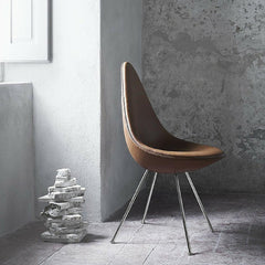 Arne Jacobsen Drop Chair in Elegance Walnut Leather in room by window Fritz Hansen
