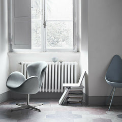 Arne Jacobsen Silver Blue Drop Chair in Room with Swan Chair Fritz Hansen