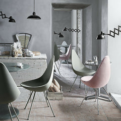 Arne Jacobsen Drop Chairs in Cafe with Kaiser Idell Pendants Fritz Hansen