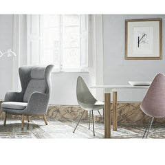 Arne Jacobsen Drop Chairs in Room with Ro Chair and Analog Table by Jaime Hayon for Fritz Hansen