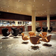 Arne Jacobsen Egg and Swan Chairs Royal SAS Copenhagen Hotel Bar Fritz Hansen