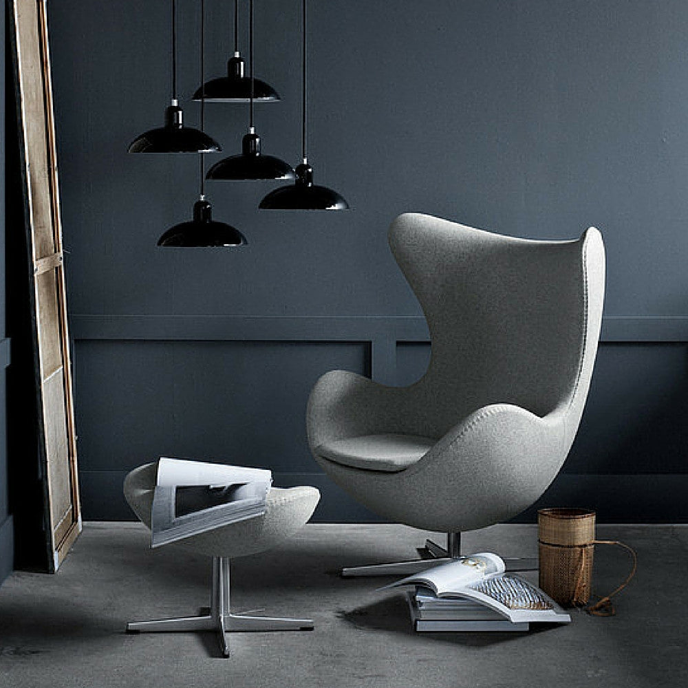 Arne Jacobsen Egg Chair And Footstool In Room With Kaiser Idell Pendant  Lights Fritz Hansen