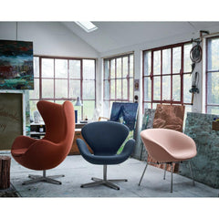 Fritz Hansen Swan Chair by Arne Jacobsen in artist's studio with Egg and Pot chairs