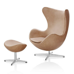 Fritz Hansen Egg Chair and Ottoman in Rustic Leather