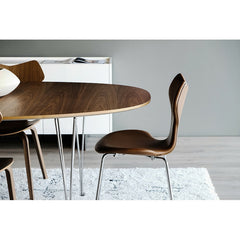 Arne Jacobsen Grand Prix Chair Walnut Leather with Piet Hein Super Elliptical Table with Walnut Veneer Singapore Showroom Fritz Hansen
