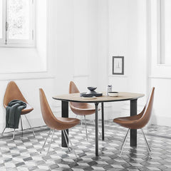 Arne Jacobsen Drop Chairs Elegance Walnut Leather in Room with Petite Analog Table Jaime Hayon Fritz Hansen
