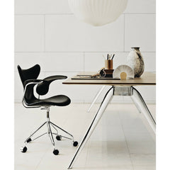 Arne Jacobsen Lily Arm Chairs in Room with Todd Bracher Table Desk Fritz Hansen