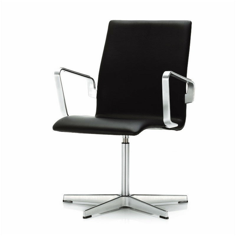 Arne Jacobsen Oxford Chair Low Back Fixed Height Black Leather Arms Toes Fritz Hansen