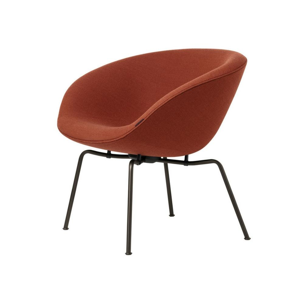Arne Jacobsen Pot Chair By Fritz Hansen In Red Orange With Black Legs