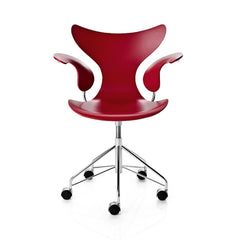 Arne Jacobsen Lily Chair Red Lacquer Swivel Casters Fritz Hansen