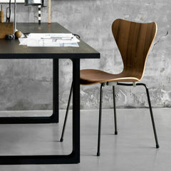 Walnut Series 7 Table with Cecile Manz Essay Table Arne Jacobsen Fritz Hansen