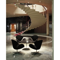 Arne Jacobsen Swan Chairs Black in Royal Copenhagen Hotel Lobby Fritz Hansen