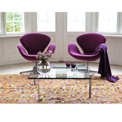 Arne Jacobsen Swan Chairs Purple in Room with Poul Kjaerholm Coffee Table Fritz Hansen