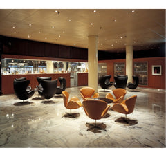 Arne Jacobsen Swan Chairs Walnut Leather in Royal Copenhagen Hotel Lounge Fritz Hansen