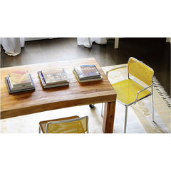 Audrey Arm and Armless Chair Aluminum Back Yellow Seat Piero Lissoni for Kartell Coffee Table