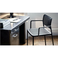 Audrey Arm Chair Black Aluminum Black Seat Piero Lissoni for Kartell Desk