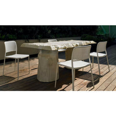 Audrey Chair Armless White Aluminum White Seat Piero Lissoni for Kartell Outdoor Dining
