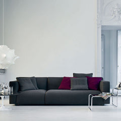 Barber Osgerby Knoll Asymmetric Sofa Grey in Room with Laccio Tables