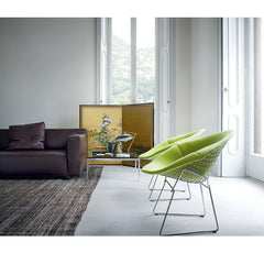 Leather Barber Osgerby Knoll Sofa in Room with Bertoia Diamond Chairs