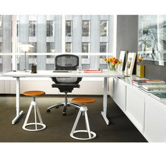 Barber Osgerby Adjustable Piton Stools in Room with Pixel Desk and Generation Chair Knoll