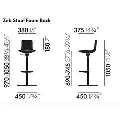 Barber & Osgerby Zeb Stool Foam Back Dimensions from Vitra
