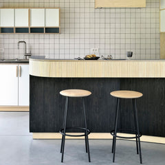 Oak Baretto Barstools by Ethnicraft at Kitchen Bar