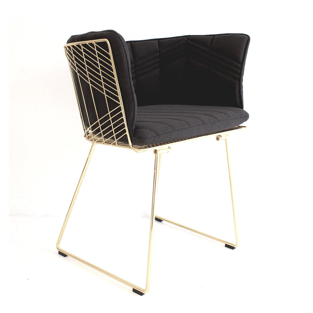Modern captain chair - Bend Captain Chair Gold With Full Black Cushion Angled