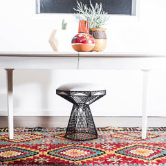 Bend SWITCH Table Stool Black Base White Cushion with Dining Table