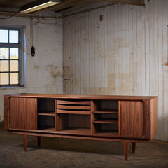 Bernh. Pedersen & Son Sideboard No. 142 in Walnut with Design Combination 2-2-2: 3 Standard Trays
