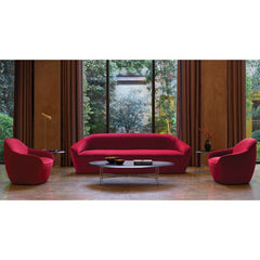 Bernhardt Design Terry Crews Becca Sofa and Chairs red velvet in lobby