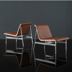 Bernhardt Design Charles Pollock CP2 Lounge Chairs Amber Leather in Studio
