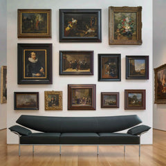 Bernhardt Design Ibis Sofa by Terry Crews with Paintings in North Carolina Museum of Art