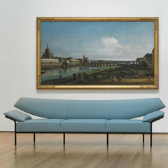 Bernhardt Design Ibis Sofa Light Blue by Terry Crews with Painting at NC Museum of Art