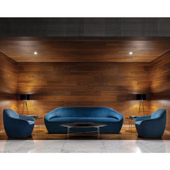 Bernhardt Design Terry Crews Blue Velvet Becca Chairs and Sofa in Hotel Lobby
