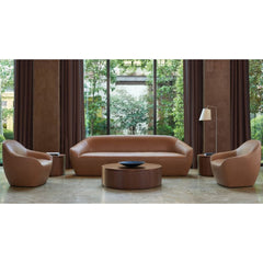 Bernhardt Design Terry Crews Becca Sofa Camel Leather in lobby with Becca Chairs