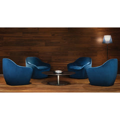 Bernhardt Design Terry Crews Becca Chairs Blue Velvet in Hotel Lobby